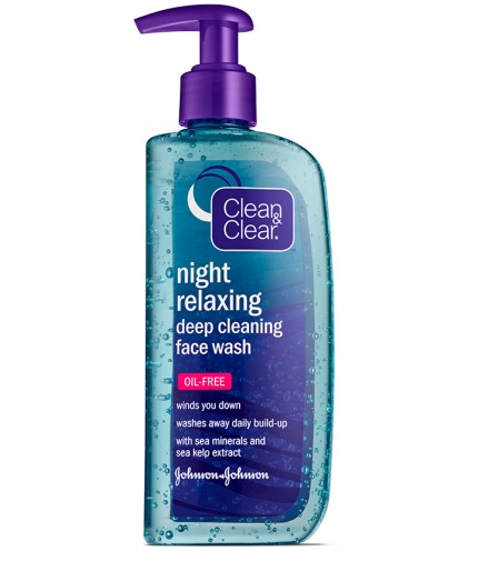 Last but not least, the Clean and Clear Night Relaxing face wash. It smells very good and cleans well. It does not really relax you but I love it and use it all the time.