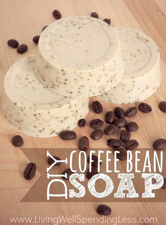 15. Homemade Soap It's easier than it looks! Turns out you can buy soap base that melts in the microwave, then you can add a few other ingredients to your liking (fragrance oil, coffee beans, etc.) and then pour the melted mixture into soap molds. How fun!