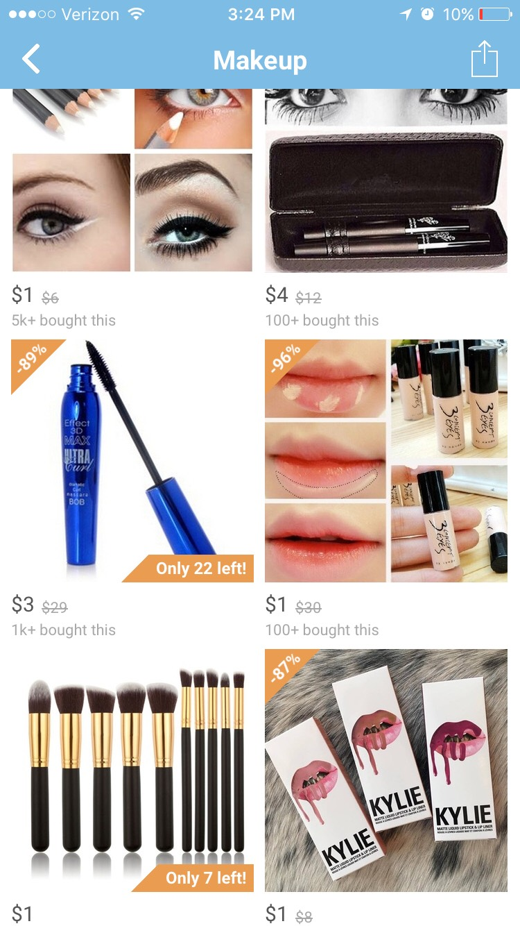 Makeup is so cheap on wish and I've actually switched over to some of the makeup from wish because I like it better than what I used to use and it's so cheap!