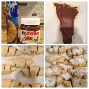 --> Pop open croissants -> Spread your Nutella down each individual croissant, and roll up.  -> Place on baking sheet -> Place in oven on 375 degrees  -> For 10-12 minutes.