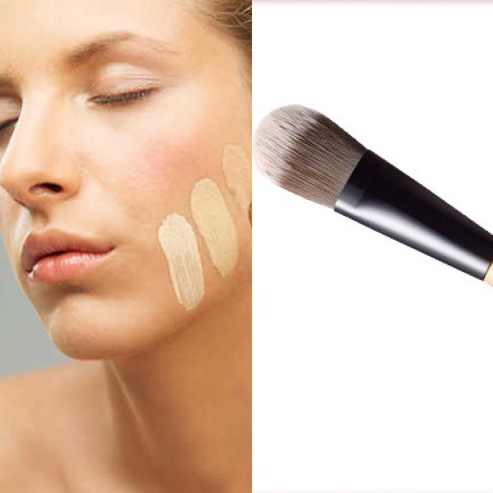 Make sure you have the right colour of foundation so that it blends better on your face. Apply foundation all over your face with a foundation brush (shown above) or your fingers.