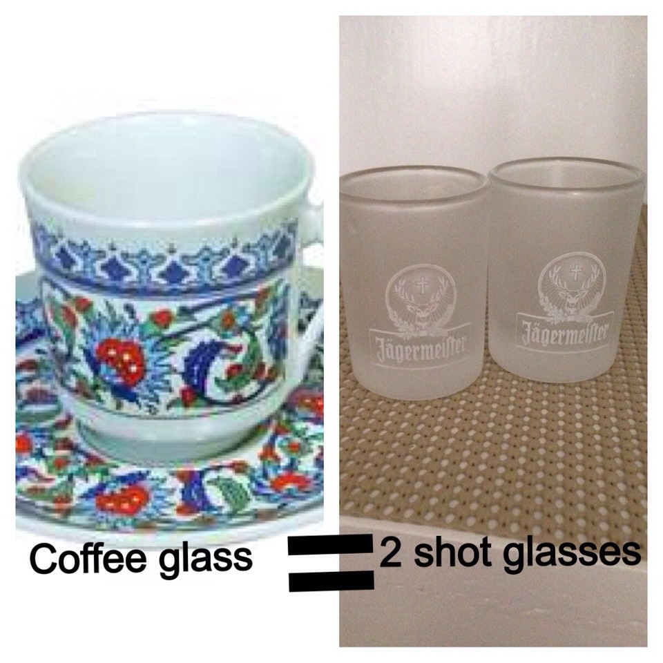 Turkish coffee glass(this is mostly used for water measuring purposes if you do nt have it use shot glasses, 1 turkish coffee glass water equals to 2 shot glass water)