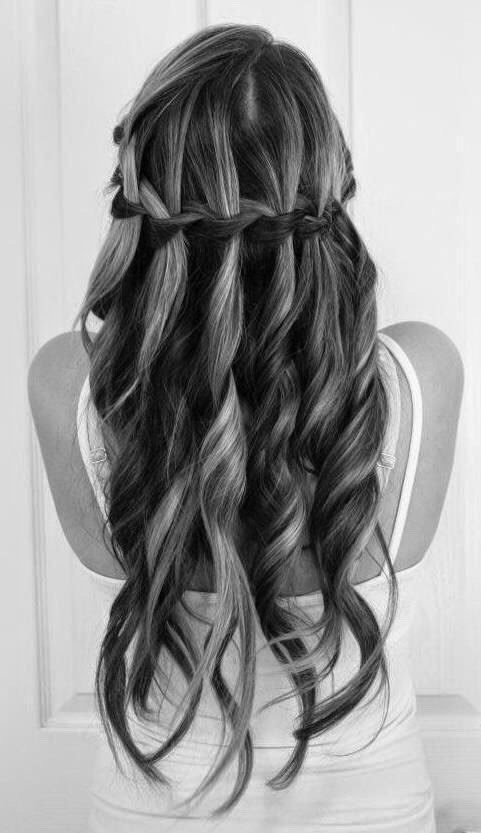 Curls with waterfall braid