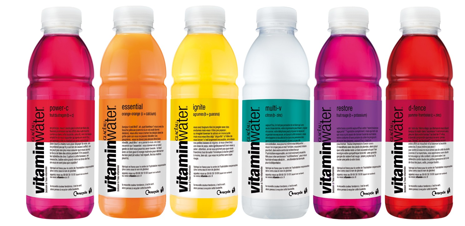 11. Vitamin water: A bottle of Vitamin Water is 2.5 servings, so nutritional label should be adjusted(unless you're going to drink less than half a bottle at a time). 1 bottle of Vitamin Water contain 125 calories and 33g of sugar. That's more than a 12 ounce serving of Coke (110 cal 30g of sugar)