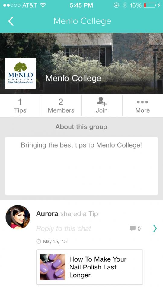 For example Stacy Parra created Menlo College group page for her college friends to discuss their favorite tips.