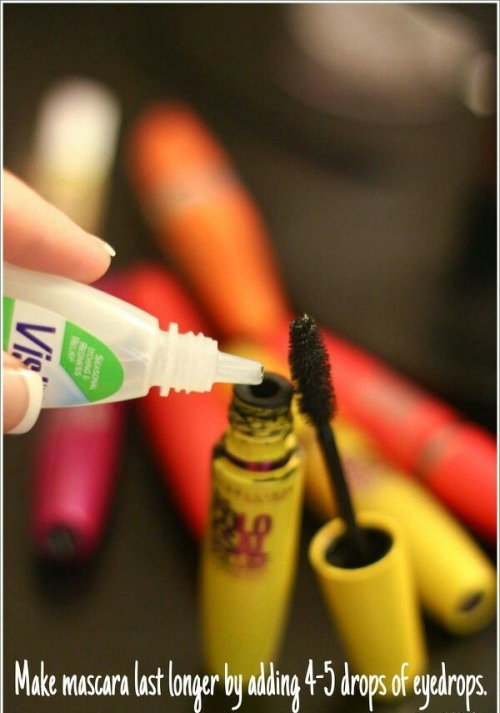 add 5 drops of your eyedrops into your mascara so it lasts longer.