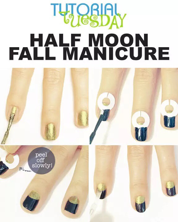 Use binder paper hole reinforcers to create a HALF MOON design or as a FRENCH TIP design TIP: allow the nail polish to dry enough so when you remove the hole reinforcers the design will not smudge TIP2: allow base nail color to dry first before applying the hole reinforcers