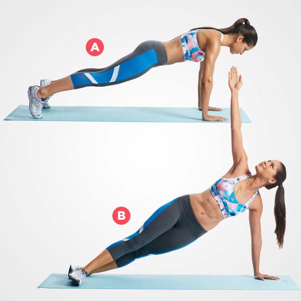 5 DUMBBELL PLANK ROTATION Planks are a great exercise to strengthen the core and improve your flexibility, posture and stability. By twisting your torso you're also engaging and strengthening your upper body, turning this exercise into a powerful full body workout.