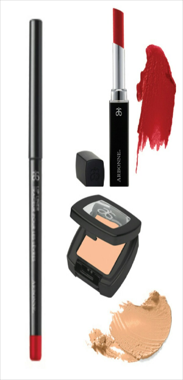 """How to get bigger red lips with these products Arbonne Lip liner in """"Cherry,"""" lipstick in """"Strawberry red,"""" concealer in """"Light"""" and Natural Radiance Mineral powder in """"Porcelain"""" (not shown)"""