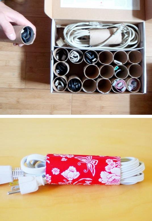 Who knew there were so many clever uses for toilet paper rolls! We go through so many of these things, why not repurpose them in a way that makes our life easier? Use them to keep your cords from tangling, or even create a custom cubby box for small cords and cable