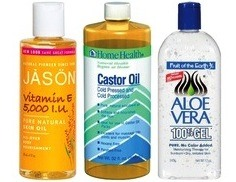For your recipe:  1/4 castor oil 1/4 aloe Vera gel 1/2 vitamin E