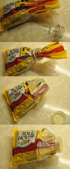 Seal a bag of food by cutting the top of a plastic bottle off and twisting the cap over the open end of the bag
