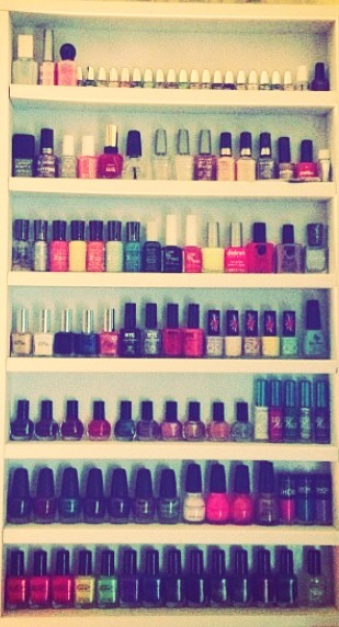Decide how many polishes you want your shelf to hold and then determine how tall/wide you want the shelf to be. Make measurements and be sure the bottles will fit comfortably on each shelf. Buy wood in te appropriate lengths, sand it and paint it any color. Then glue or nail the boards together.