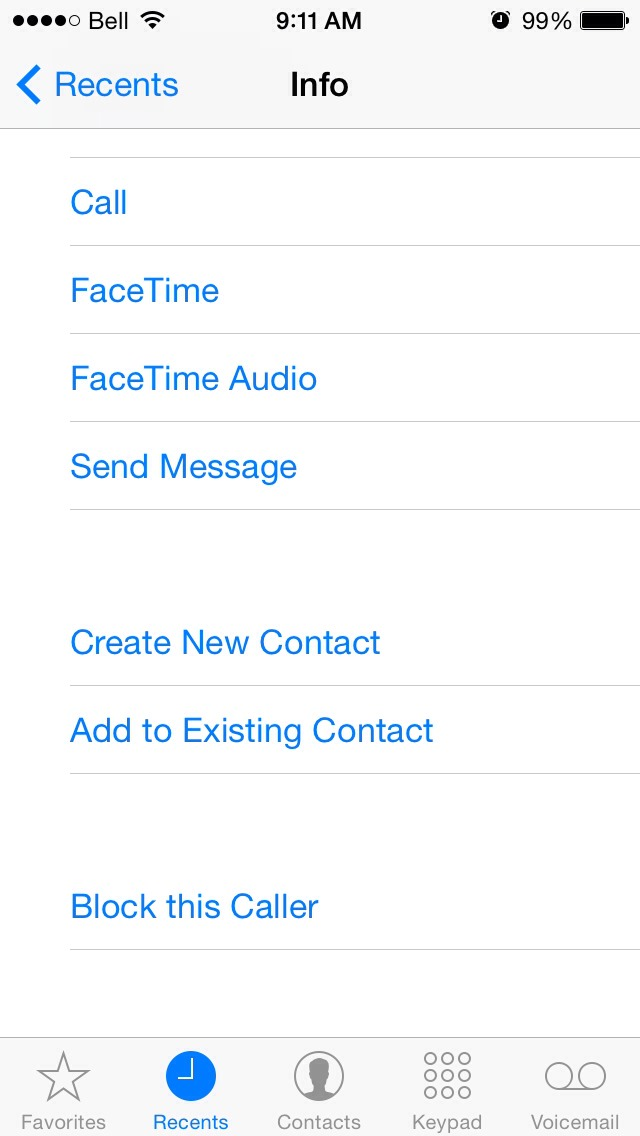 Scroll to the bottom to find Block this Caller