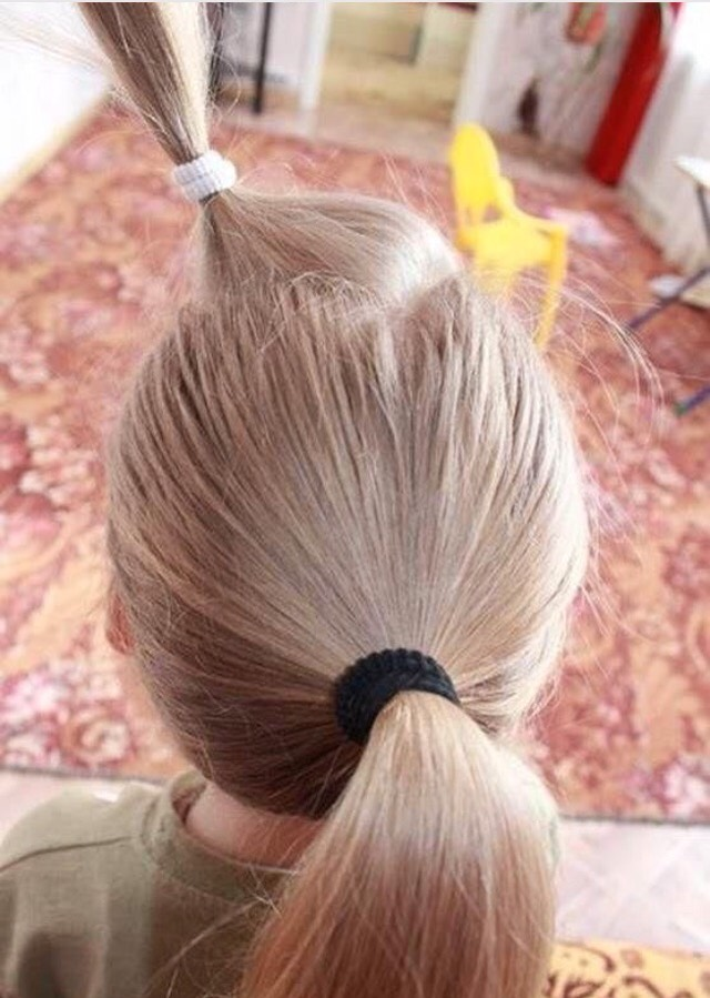 Put your hair in a ponytail then take out a small section