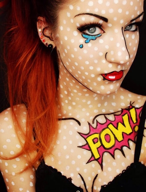Comic: Use makeup or body paint and outline and draw on yourself to make yourself look like a human comic!