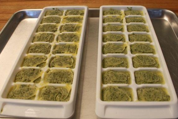Once the pesto is frozen solid, remove the trays from the freezer.