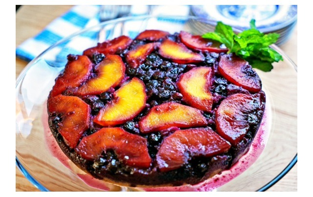 Peach And Blueberry Upside Down Cake