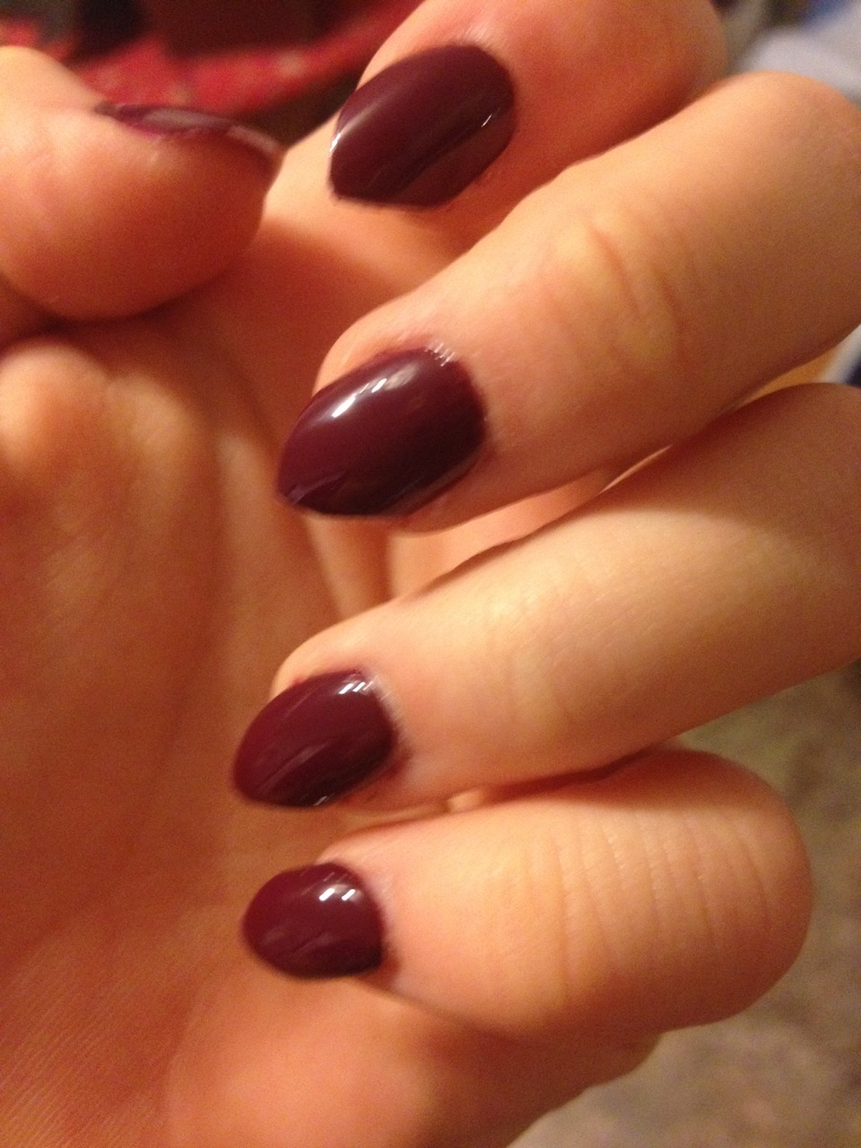 """Paint whatever colour you choose. I chose this colour. It's Sally Hansen complete salon manicure shade 490 """"ruby do"""""""
