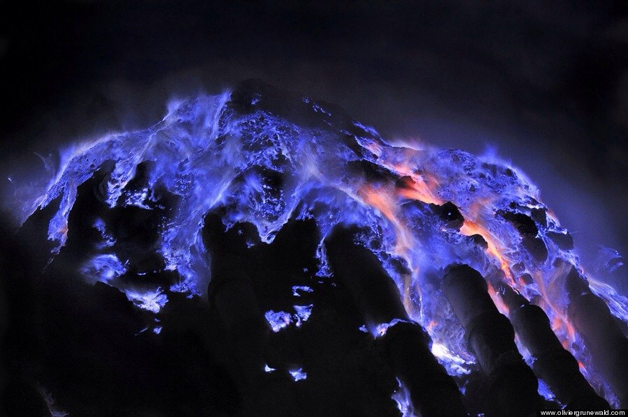 There's a volcano in Indonesia that spews blue lava.