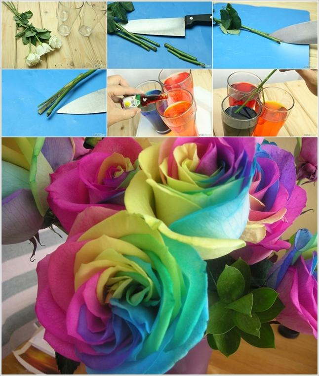 A Bouquet of such rainbow roses can be great as a party centerpiece.
