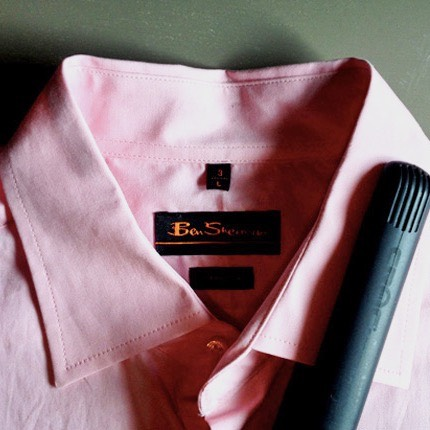 FLAT IRON YOUR SHIRT COLLAR  Use your flat iron to quickly press your shirt collar or remove small wrinkles in your blouse. Just be sure to wipe off any product build-up on the plates first and be mindful of temperature settings (cotton = high heat; silk = low heat)