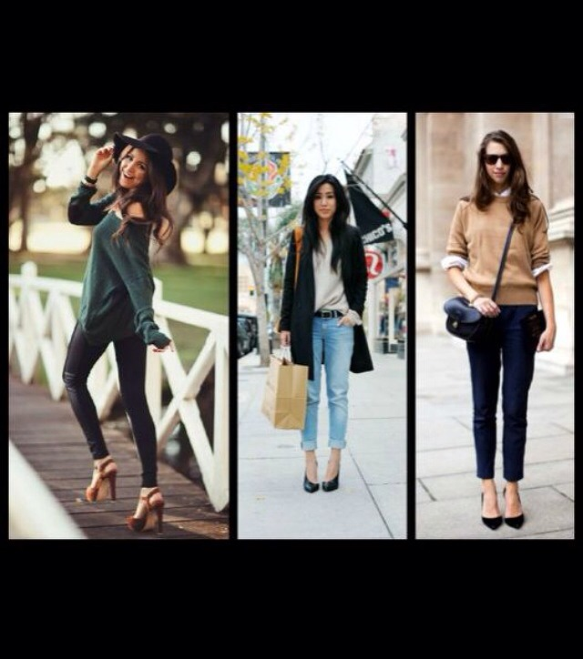 I love these outfits their more elegant because of the pointed heels and boyish jumpers and blazer.