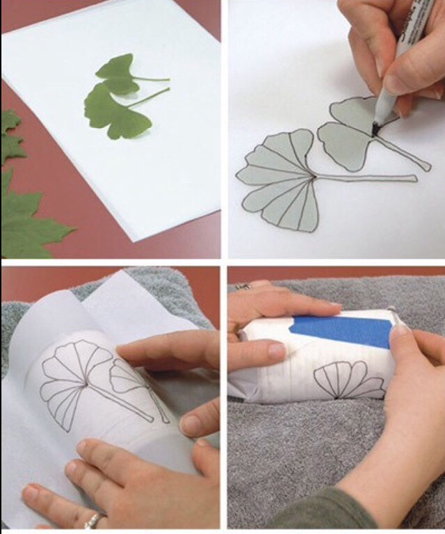 Trace the leaves on the wax paper. And wrap it on the can. Now you can hammer in the holes according to the design.