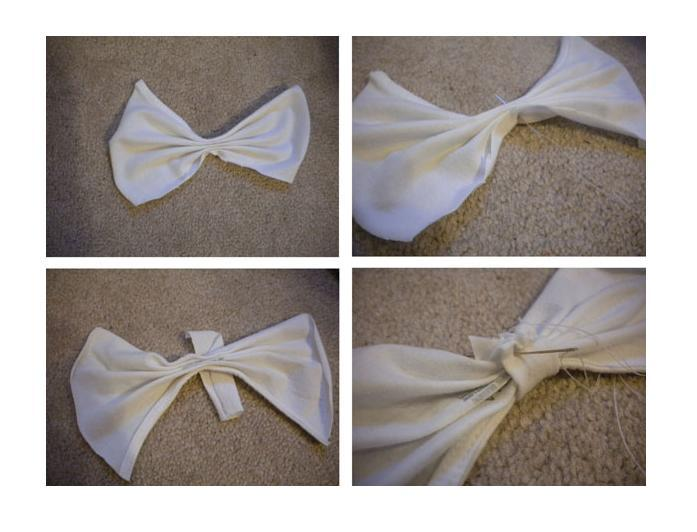 5. Make your bow using the fabric you just cut. Fold the larger rectangles like a fan-  folds horizontal. Pull your needle and thread through the center to hold the folds in place. Using the strip of fabric, wrap the center of the fan. Cut off the excess length, and sew along the edge to form a loop