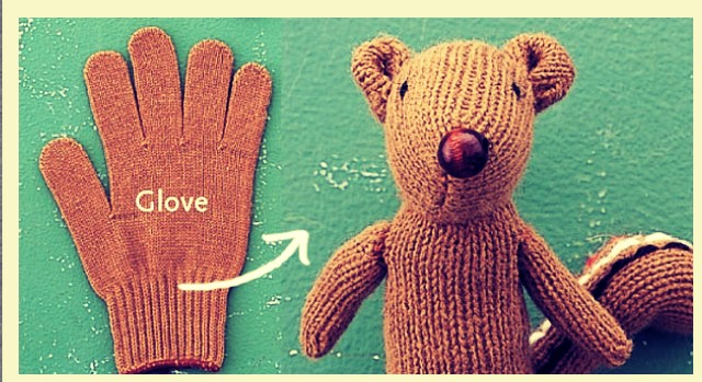 For this easy diy, you will need A glove Needle and thread A button A fabric marker A few pipe cleaners And some fluffy stuffing  :)