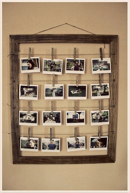 Try something a little different in a room that needs some spicing up  All you need is: An old wooden frame Wooden clothes pins String/yarn/wire Glue gun pictures