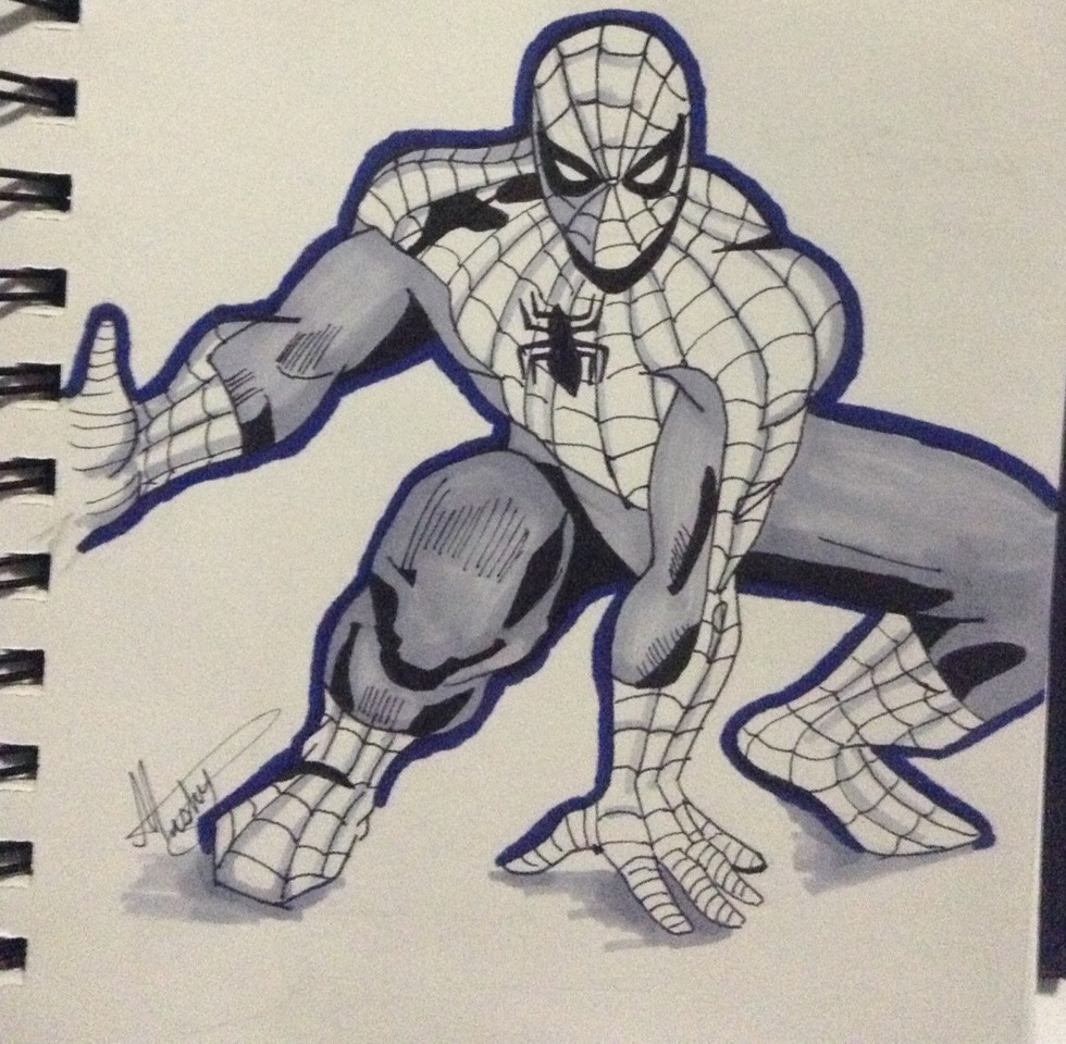 I outlined with the blue Artist Loft marker (just because this is my style and its optional!) Make Spider-Man as your own, it makes you a greater artist :-)