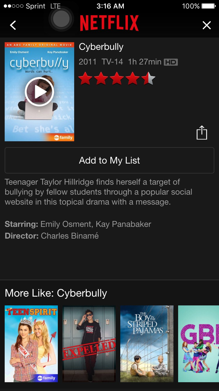 Cyberbully is a good movie and it teaches a lesson to everyone of what people go through when they are bullied. It sad and it touches your heart.