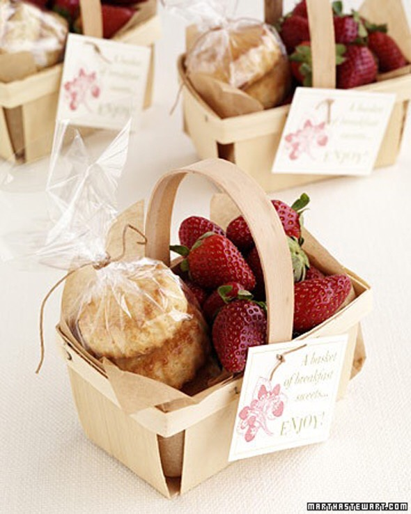 Breakfast sweets in a basket are a unique option that will surely please guests. Especially those who barely have time for breakfast.