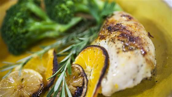 Citrus-rosemary roasted chicken  Yield: 4 to 6 servings Cost: $4.71 Prep time: 10 minutes Cooking time: 60 minutes
