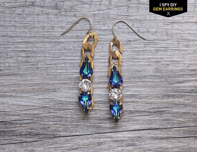 What you need: Earring hooks Gems Chain Glue