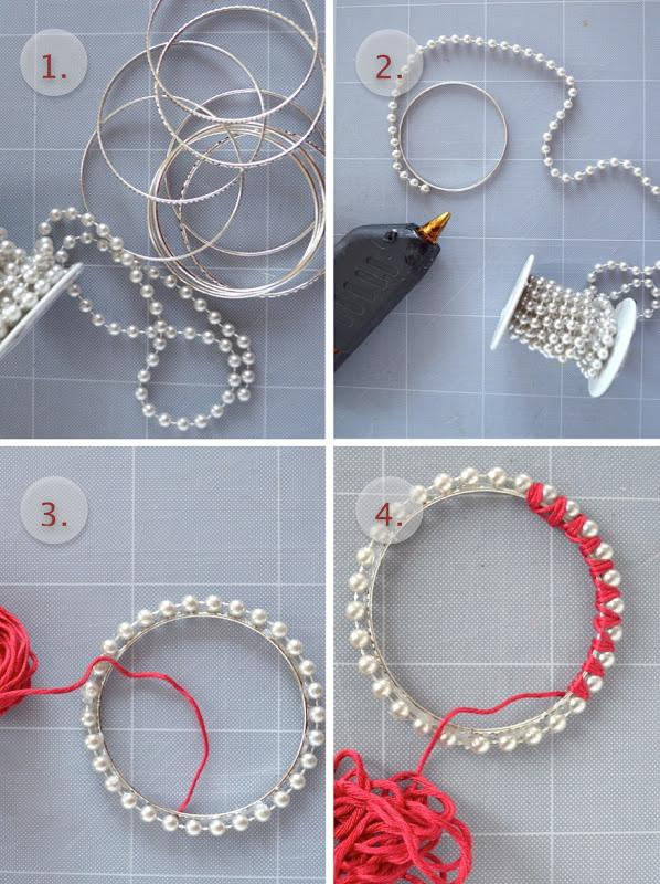 Gather your material. Glue your pearly garland on the bracelet. We noticed that the final result is more sturdy if you place a little bit of glue under each and every pearl. Put a dot of glue to hold the beginning of your thread. Circle with the thread around each pearl. Do two or three rounds