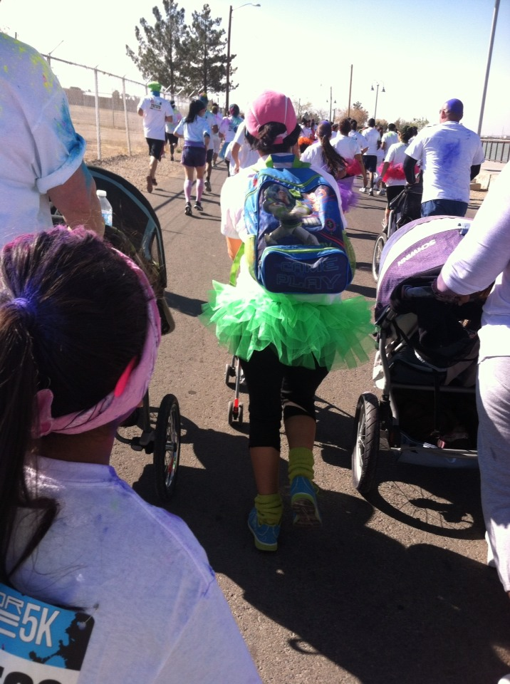 Oh I forgot to tell you!! You can bring your stroller and run run run!! (My sister with green tutu)