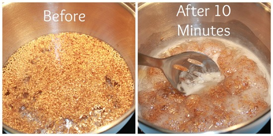 Boil the water on medium heat. When it reaches a boil, add the flax seeds and let simmer for 10 minutes. You will want to keep a watchful eye while it's simmering, and stir frequently so the flax seeds do not stick to the bottom of your pan. You will see a gelatinous mixture start to form.