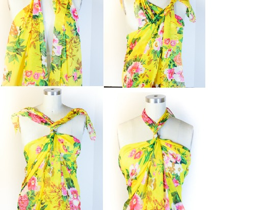 Double click for full view - please don't forget to like!  Spring 2014 is seeing a contrast of either bright mixed colors or black and white abstract so go choose the perfect scarf or wrap to complement the up and coming trend!  Here's how: (All you'll need is a scarf or wrap!)
