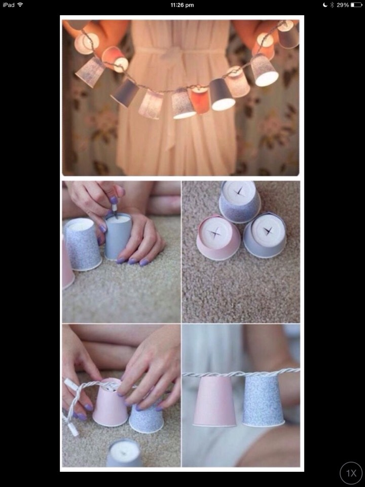 For pretty lighting. Make a hole in some paper cups and put fairy lights through each cup hole
