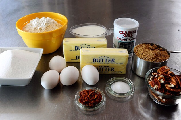 FOR CAKE: 1-1/2 stick Butter, Softened 2 cups (scant) Sugar 3 cups Flour, Sifted 4 teaspoons Baking Powder 1 teaspoon Salt 1-1/4 cup Whole Milk 3 whole Egg Whites, Beaten Until Stiff   FOR THE TOPPING: 1-1/2 stick Butter, Softened 3/4 cups Flour 1-1/2 cup Brown Sugar 2 Tbls cinnamon 1-1/2cup pecans