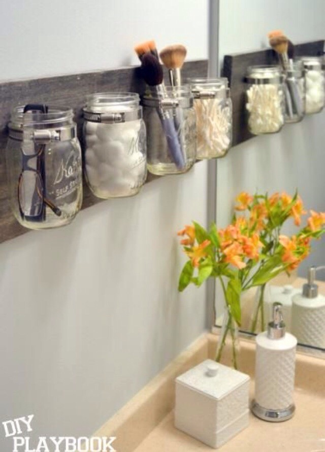 Good News: You Can Recycle The Mason Jars That You Have Used Durng Your  Hipster Wedding. Fasten Them Onto A Wooden Plank And Hang Them On You Sink.