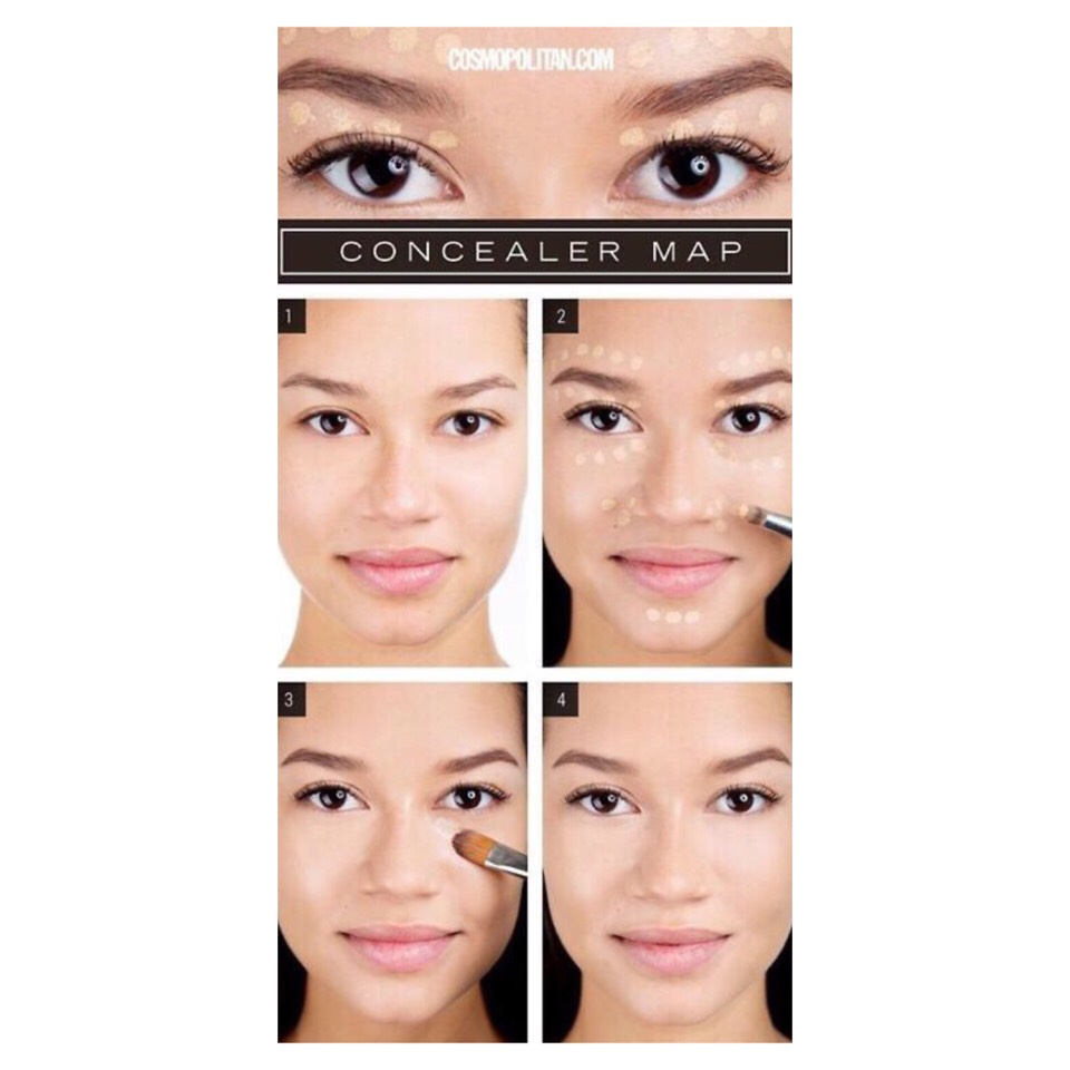 Tip 10: Concealer Map  Use concealer on your chin, above and below eyebrows, on sides of mouth and nose to highlight your face. Use a concealer a shade lighter than your normal skin tone.