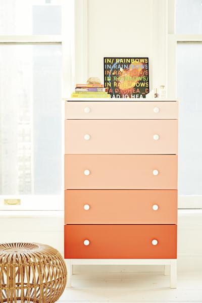 1. Ombré Dresser Adios, boooring dresser! Go for an unexpected ombré effect by painting each drawer a different shade of the same color.