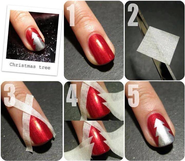 Beautiful christmas tree nail art!'