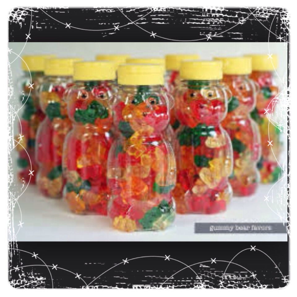 A fun way to store gummy bears is to put them in an empty honey jar like the one above! It also makes a cute gift!