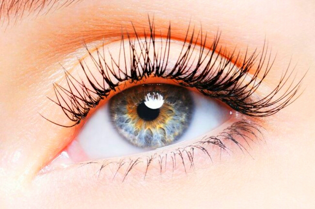 Make your eyelashes appear longer and thicker by adding black eye shadow to them before a final coat of mascara