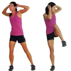 20 oblique high knee crunches (each side)