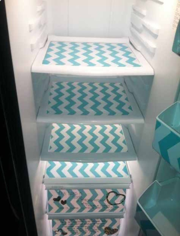 Tape foil underneath so the Paper won't stick to your shelves later.